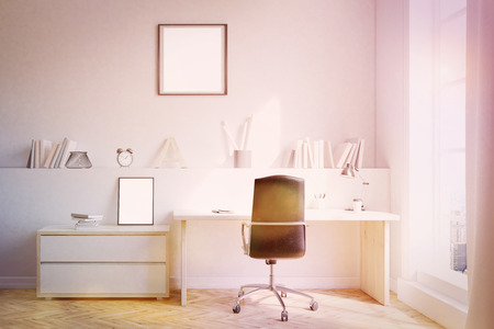 home office interior: Home office interior with self, desk and chair. Concept of working at home. 3d rendering. Mock up. Toned image Stock Photo