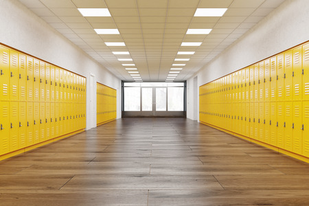 School corridor with rows of bright yellow lockers.  Fitness Gym. Concept of studying. 3d rendering