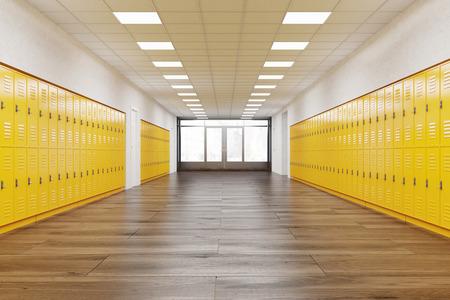 Pasillo de la escuela con filas de armarios de color amarillo brillante. Gimnasio. Concepto de estudiar. Las 3D Foto de archivo - 61191943