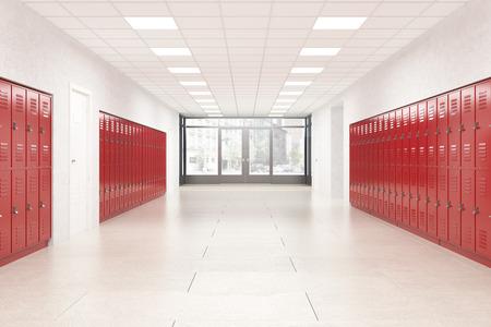 빨간색 반짝이 사물함이있는 고등학교 로비. 피트니스 헬스 클럽. 공부 하 고 지식을 얻는 개념. 3 차원 렌더링