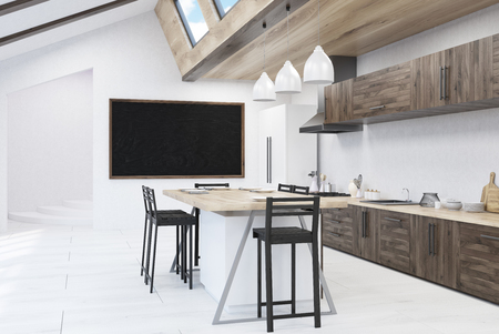 dining table: Kitchen with blackboard. Stools around dining table, counters. Concept of home decor. 3d rendering. Mock up