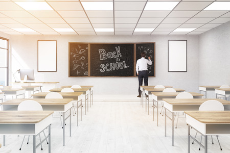 college classroom: Male teacher in college classroom. Concept of providing education. Back to school. 3d rendering. Mock up. Toned image.