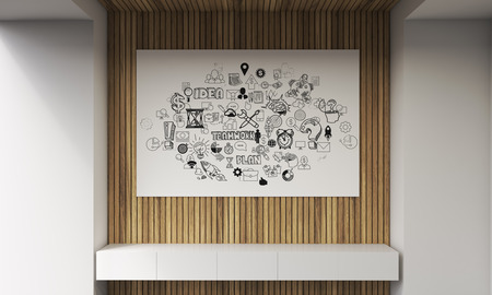 pictured: White bench, large horizontal poster with abstract images pictured on it. Concept of brainstorming. 3d rendering