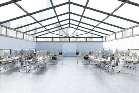attic: Room interior with lots of computers in attic of skyscraper. Concept of busy office. Computers on desks, city seen through glass roof. 3d rendering. Mock up