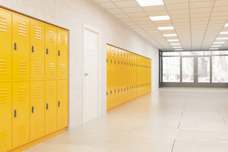 Wall with yellow lockers and white door.  Fitness Gym. Concept of school interior style. 3d rendering