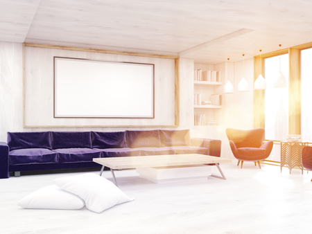 3d lightning: Living room with good lightning, purple sofa, large picture and low table. Concept of cozy accommodation. 3d rendering. Mock up. Toned image