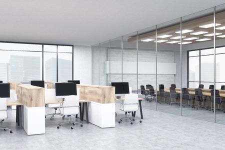 Interior de la sala de conferencias con cubículos de oficina. Concepto de trabajo de oficina. Las 3D. Bosquejo.