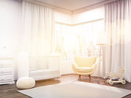 nursery room: Baby room interior with cot, window, armchair and carpet. Concept of modern nursery. 3d rendering. Toned image.