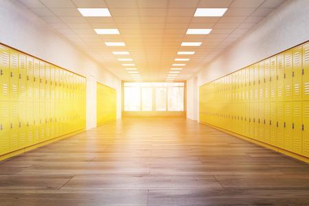 밝은 노란색 사물함이있는 학교 복도. 공부 하 고 편안한의 개념입니다. 피트니스 헬스 클럽. 3d 렌더링입니다. 톤 이미지