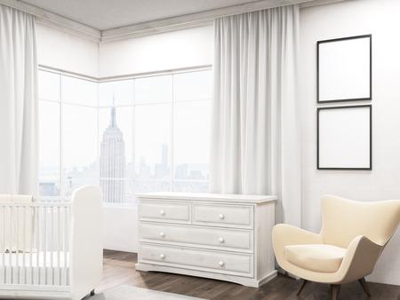 Babykamer interieur met New York City view, twee posters op muren, kinderbed en een kledingkast. Concept van de moderne appartement. 3D-rendering. Mock-up. Stockfoto