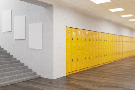 School lobby interior with row of yellow lockers, posters on wall and stairs.  Fitness Gym. Concept of education. 3d rendering. Mock up 免版税图像