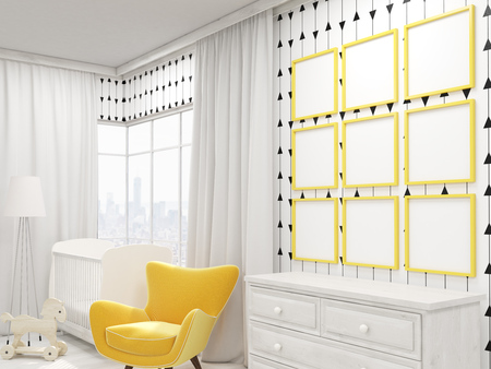 cozy: Cozy nursery with yellow armchair, cot and photo gallery on wall. Nine pictures. Concept of good design. 3d rendering. Mock up Stock Photo