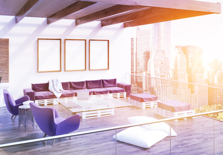 luxury apartment: Balcony of luxury apartment in big city. Glass table, laptop, sofa, chairs and posters on wall. Evening at New York. 3d rendering. Mock up. Toned image
