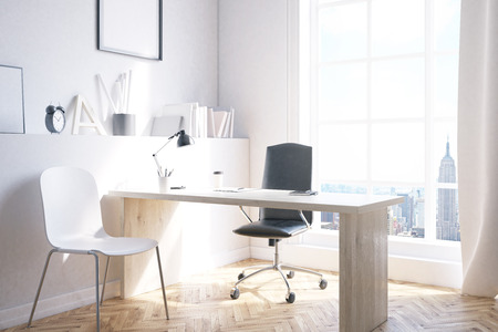 new york city panorama: Home office with wooden desk, chair and New York City panorama. Concept of freelancing 3d rendering. Mock up