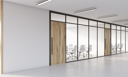 meet up: Conference rooms with glass walls and long tables. Concept of accounting or consulting company. 3d rendering. Mock up.