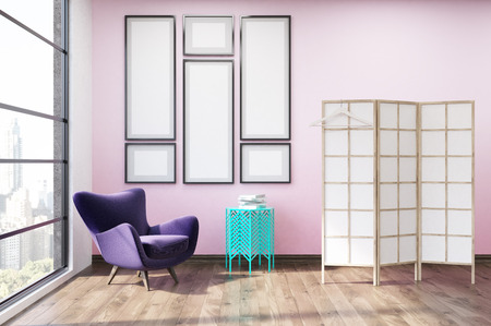 dressing up: Dressing room with gallery of images on pink wall, screen and purple armchair. Concept of interior decoration. 3d rendering. Mock up