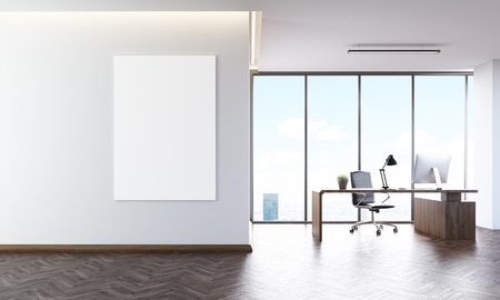 ceo: Office interior with poster on wall, desk and computer on it. Concept of CEO workplace. 3d rendering. Mock up