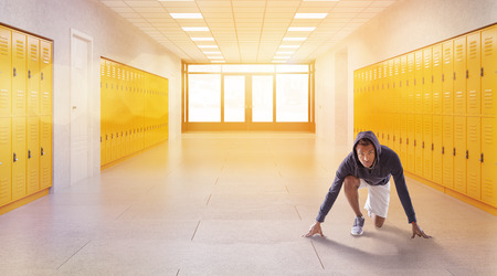 physical education: Jogger in hoodie and short in school corridor. Concept of physical education and fitness. 3d rendering. Toned image