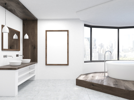 bath tub: Large bathroom interior with vertical picture, sink and round bath tub. New York City view. Concept of relaxation and home. 3d rendering. Mock up