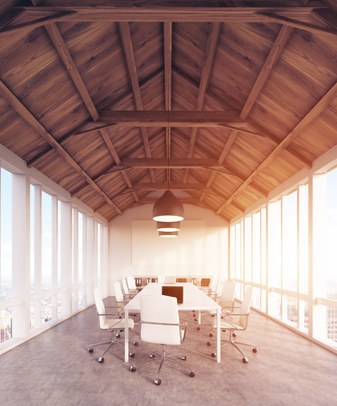 compromise: Office interior with panoramic windows, long row of tables with computers and wooden roof. Concept of teamwork. 3d rendering. Toned image