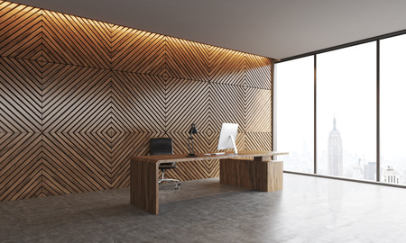 Workplace of companys head with desktop and concrete floor. Wooden walls, panoramic window with New York city view. Concept of top management. 3d rendering.