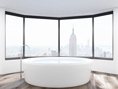 new york city panorama: Bathroom with New York City panorama and round bath tub. Concept of self care and hygiene. 3d rendering.