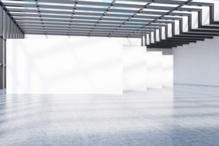art exhibition: Empty gallery in big city. Concrete floor, white walls, attic, glass roof. Concept of modern art exhibition. 3d rendering. Mock up