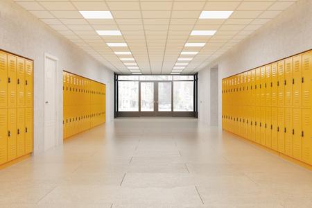 밝은 노란색 로커가있는 학교 로비. 피트니스 헬스 클럽. 중학교의 개념입니다. 3 차원 렌더링