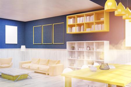 #61793215   Wohnzimmer Interieur Mit Blauen Und Weißen Wänden, Poster,  Tisch Und Sofa. Konzept Der Modernen Unterkunft. 3D Rendering.