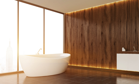 bath tub: Bathroom interior with wooden wall, panoramic window with New York view and tile floor. White bath tub and sink. Mock up. Toned image. 3d rendering