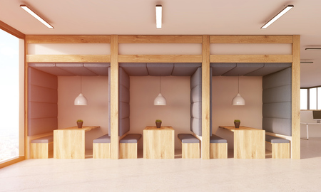 view of an atrium in a building: Dining area in office. Soft fabric walls, wooden furniture, white ceiling lamps. Concept of dining in office, canteen. 3d rendering. Toned image