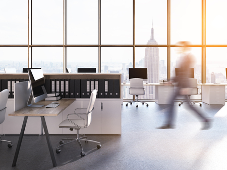 panoramic view: Man going to his workplace in New York City legal company. Computers on desks. Panoramic view. Concept of successful businessman