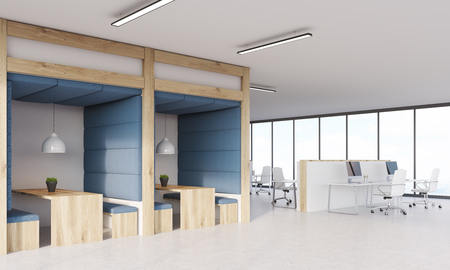 Dining area in office next to cubicles with computers. Panoramic windows. Concept of lunch break. 3d rendering