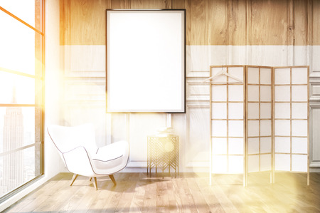 Interior of dressing room lit with bright sunlight with white and black armchair, vertical poster and screen. Concept of modern flat in New York. 3d rendering, mock up, toned image