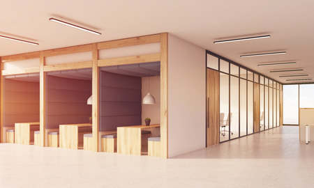 large doors: Office cubicles and conference room. Wooden doors and concrete floor. Large windows. Concept of modern office. 3d rendering. Stock Photo