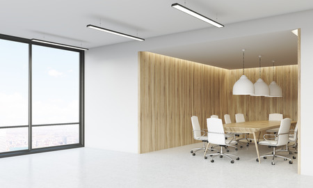 view of an atrium in a building: Office lobby with wooden walls, large windows, long table surrounded by white leather chairs. 3d rendering. Mockup