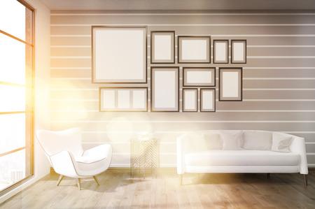 #61790077   Moderne Wohnzimmer In Der Großen Stadt Mit Bildergalerie An Der  Wand, Großes Sofa Und Bequemen Sessel. Konzept Der Modernen Innenraum.