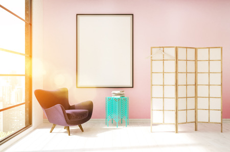 dressing up: Dressing room with pink wall lit by sun. Purple armchair, coffee table and screen. Concept of cozy home. 3d rendering, mock up, toned image