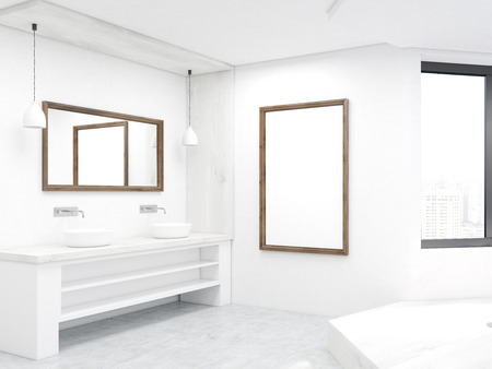 penthouse: Bathroom corner with two sinks, podium, mirrors and window. Concept of cleanness and body pleasures. 3d rendering. Mock up. Stock Photo
