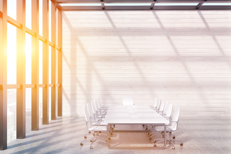 toning: Meeting room interior with panoramic window, wooden walls, long table and office chairs. Concept of negotiation. 3d rendering. Mock up. Toned image Stock Photo