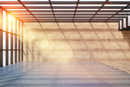 attic window: Attic with large panoramic window, wooden walls and glass ceiling. Concept of contemporary interior design. 3d rendering. Mock up. Toned image Stock Photo