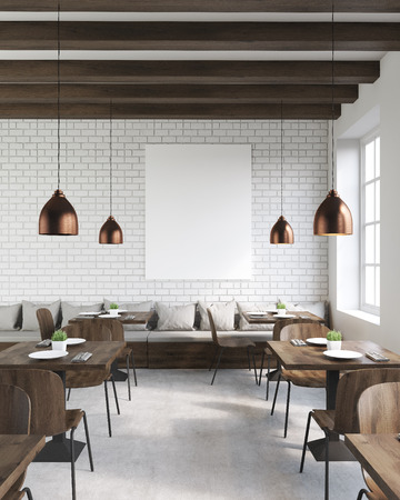 Coffee shop interior with wooden tables and chairs, vertical poster and ceiling lamps. Concept of hipster lifestyle. 3d rendering. Mock up. Banque d'images