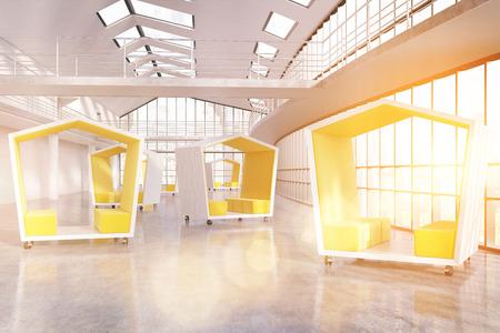 meet up: Yellow pentagonal waiting areas in companys hallway. Large panoramic windows. Sunshine. Concept of meet up. 3d rendering. Toned image