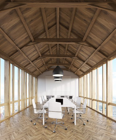 to compromise: Attic wooden office interior of design studio with computers on tables and panoramic windows. Concept of modern architecture. 3d rendering