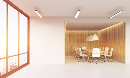 view of an atrium in a building: Conference room without doors in office with panoramic windows. Concept of partners meeting. 3d rendering. Mock up. Toned image Stock Photo