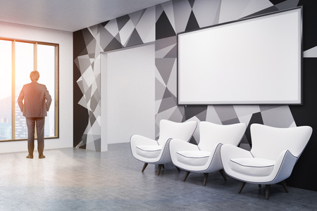 panoramic business: Man standing in office lobby with whiteboard and three white chairs. Broad doorway near panoramic window. Concept of business planning. 3d rendering. Mockup. Toned image