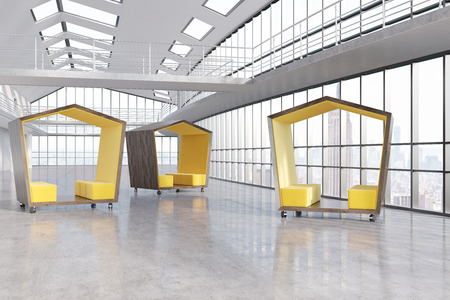 panoramic windows: Yellow pentagonal waiting rooms in big New York City office with panoramic windows. Concept of waiting. 3d rendering