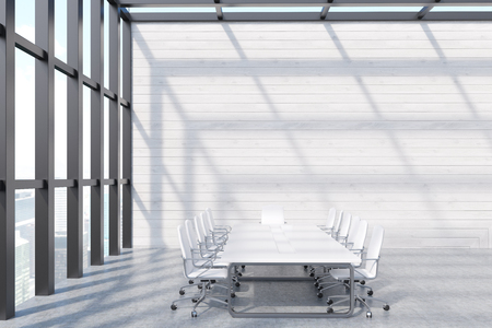 board meeting: Conference room interior in skyscraper with long white table, office chairs and panoramic window. Concept of board meeting. 3d rendering. Mockup