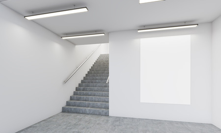 tendencies: Office corridor with stairs, vertical poster on wall and concrete floor. Concept of modern interior design tendencies. 3d rendering. Mock up