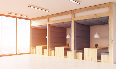 view of an atrium in a building: Dining area in office interior with panoramic windows. Wooden tables and benches, soft fabric walls and ceiling. Concept of working 247. 3d rendering. Toned image